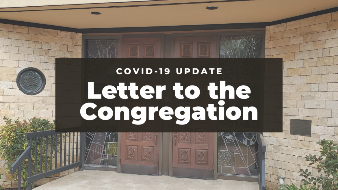 Letter to the Congregation- COVID-19 Update